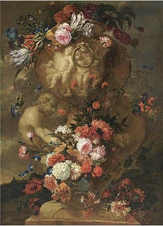 Jan Baptist Bosschaert - Still life of elaborate sculpted urns decorated with flowers