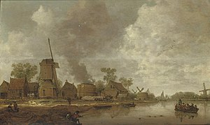 Jan Coelenbier - River scene with sailboats, a rowboat, ovens, windmills, houses, and fishermen, 1646