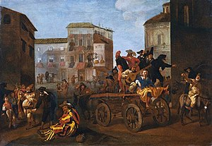 Performing arts - Commedia dell'arte troupe on a wagon, by Jan Miel, 1640