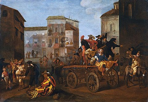 Commedia dell'arte troupe on a wagon, by Jan Miel, 1640