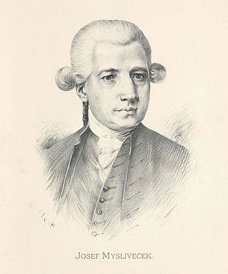 Josef Mysliveček - Posthumous portrait of Josef Mysliveček by Jan Vilímek based on a contemporary engraving