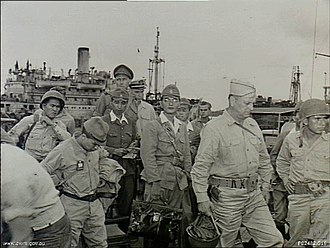 93rd Infantry Division (United States) - The Japanese commanding officers at Halmahera land at Morotai to surrender to the 93rd Infantry Division