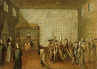 State organisation of the Ottoman Empire - Mustafa II receiving the French embassy of Charles de Ferriol in 1699; painting by Jean-Baptiste van Mour