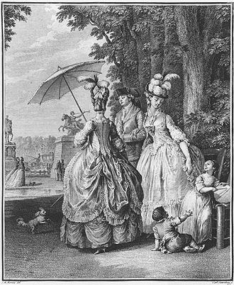 Polonaise (clothing) - Two women wearing the robe à la polonaise.  Jean-Michel Moreau, Le Rendez-vous pour Marly, engraved by Carl Guttenberg c. 1777.