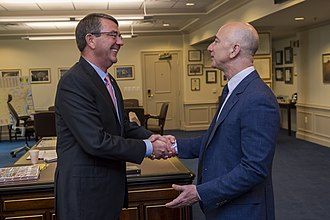 Jeff Bezos - Bezos with the former U.S. Secretary of Defense Ash Carter, in 2016.