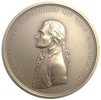 Louisiana Purchase Exposition dollar - John Reich's Indian Peace Medal for Thomas Jefferson served as the basis for the Jefferson obverse of the Louisiana Purchase Exposition issue.