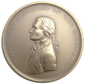 ジョン・ライヒのトーマス・ジェファーソンのインド平和勲章は、ルイジアナ購入展覧会の問題のジェファーソン・オブバースの基礎として役立った。