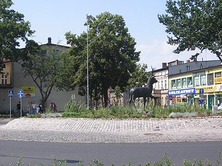 Pomnik jelenia na placu przed Ratuszem dokonuj�cy w po�udnie obrotu.