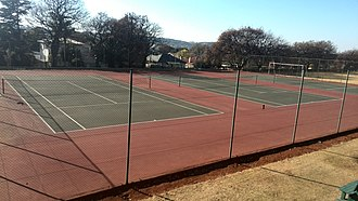 Jeppe High School for Girls - Tennis courts on the far left of the bottom grounds