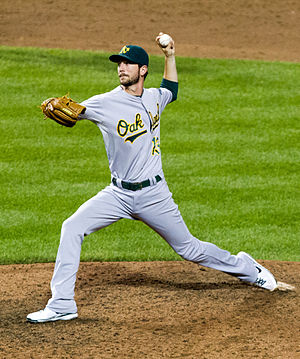 Jerry Blevins - Blevins pitching for the Oakland Athletics in 2012