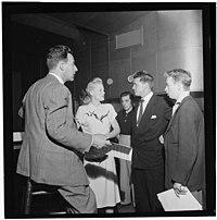 Jerry Wald, Gordon MacRae, Mel Tormé, Marion Hutton, and Jerry Jerome, Saturday Teentimers Show, New York, N.Y., ca. Aug. 1947 (William P. Gottlieb).jpg