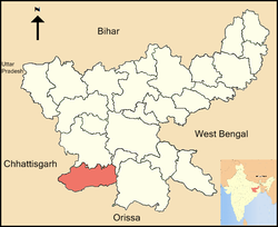 Location of Simdega district in Jharkhand