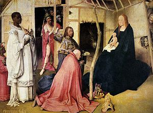 Adoration of the Magi (Bosch, Madrid) - Detail of the central panel with the Magi.