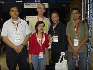 Jimbo and some Wikimaniacs (2-8-2007).jpg