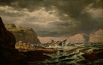 Shipwreck - Johan Christian Dahl: Shipwreck on the Coast of Norway, 1832