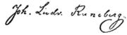 J.L. Runeberg's autograph