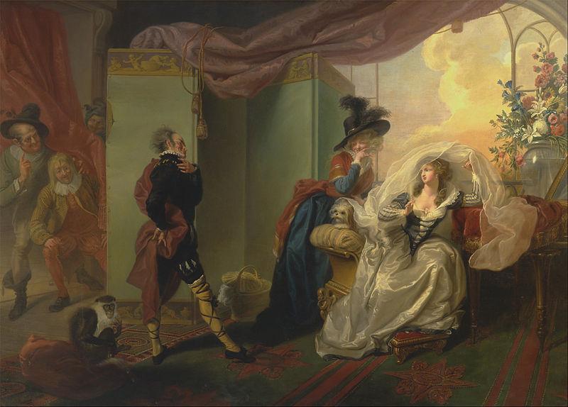 "File:Johann Heinrich Ramberg - Olivia, Maria and Malvolio from ""Twelfth Night,"" Act III, Scene iv - Google Art Project.jpg"