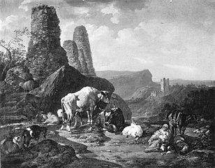Landschaft mit Vieh und Ruinen