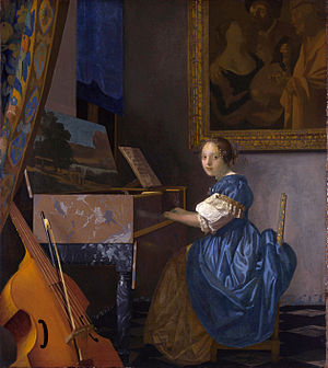 The Procuress (Dirck van Baburen) - Vermeer's Lady Seated at a Virginal, in which The Procuress hangs on the wall behind the figure