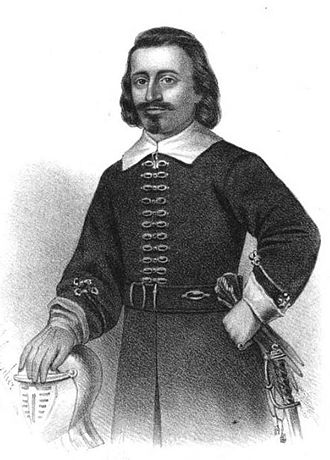 John Leverett - Engraved portrait of Leverett in his military uniform (artist unknown)