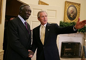 New Patriotic Party - John Agyekum Kufuor on a state visit with George W. Bush at the White House in April 2006.