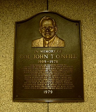 57th Street (IND Sixth Avenue Line) - Image: John T Oniell plaque 57 jeh