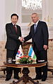 Joint Press-Conference of President Islam Karimov and President Lee.jpg