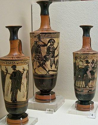 Kerameikos Archaeological Museum - Image: KAMA Black figure white ground lekythoi of Beldam workshop