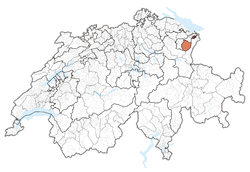 Map of Switzerland, location of Appenzell Innerrhoden highlighted