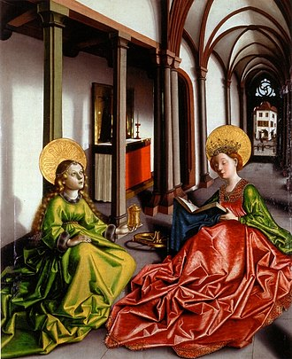 Female education - Konrad Witz depicted Saint Catharine of Alexandria (on the right) as a crowned scholar holding a book. The patron saint of learning, Catholic hagiography credited Catharine with having won a dispute with fifty of the best pagan philosophers and orators of her time.