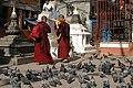Kathmandu, Nepal, Kaathe Swyambhu, Buddhist monks.jpg