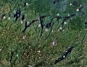 Sturgeon Lake (Ontario) - The Kawartha lakes with Sturgeon Lake (marked 'F')