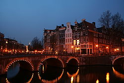 The Keizersgracht in Amsterdam, which is the largest city and capital of the Netherlands.