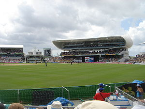 Kensington Oval during the Final of the 2007 Cricket World Cup, looking towards the Worrell, Weekes and Walcott stand