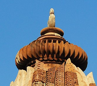 Amalaka - Double amalaka at the top of the Devi Jagadambi Temple at Khajuraho