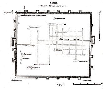 Khara-Khoto - Khara Khoto Kozlov expedition map