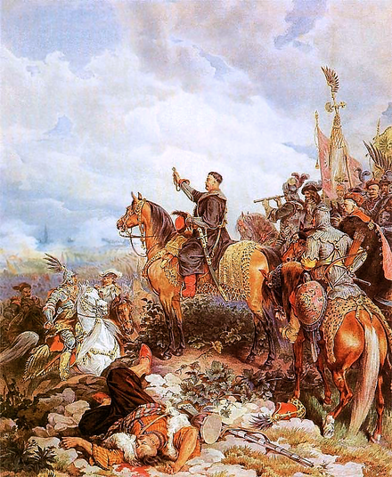 King John III Sobieski blessing Polish attack on Turks in Battle of Vienna - Juliusz Kossak painting - Battle of Vienna