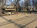 Kiosk behind construction divider (44659894335).jpg