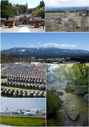 Kirishima, Kagoshima - From top left: Kirishima shrine, Uenohara site, Mount Kirishima from Maruoka, Producing black vinegar at Fukuyama, Ryokukeitouen of Eino-o Onsen, Kagoshima Airport