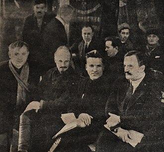Sergey Kirov - Lobov, Nikolai Bukharin, Sergey Kirov and Vyacheslav Molotov on the City Communist Party conference Leningrad, February 1926