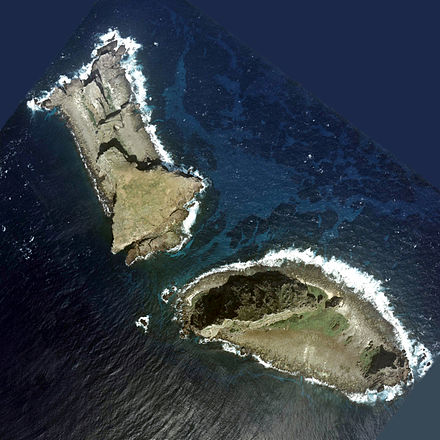 Two of the disputed islets – Kita-Kojima (left) and Minami-Kojima (right) - Senkaku Islands
