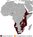 Klipspringer Oreotragus oreotragus distribution map.png