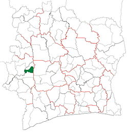 Location in Ivory Coast. Kouibly Department has had these boundaries since 2012.