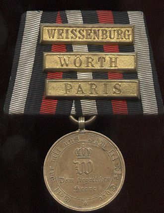 War Commemorative Medal of 1870/71 - Combatant medal with three clasps