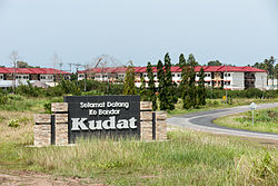 Welcome signboard at the southern entrance to Kudat town.