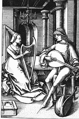 Arnolt Schlick - A 15th century print by Israhel van Meckenem. Schlick may as well have participated in such performances: he could play both lute and harp.