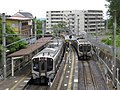 Kunimi Station train exchanging 170604.jpg