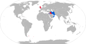 Royal Ordnance L11A5 - Map with L11A5 operators in blue with former operators in red