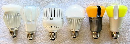 a selection of consumer led bulbs available in 2012 as drop in replacements for incandescent bulbs in screw type sockets
