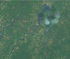 Lake Sélingué - Lake Sélingué seen from space.